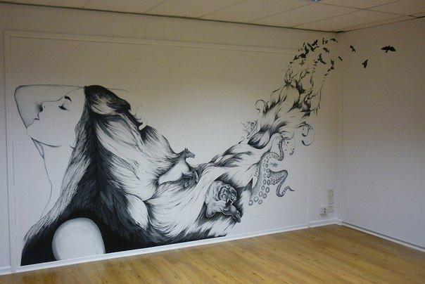 Рисунок на стене в комнате своими руками трафареты