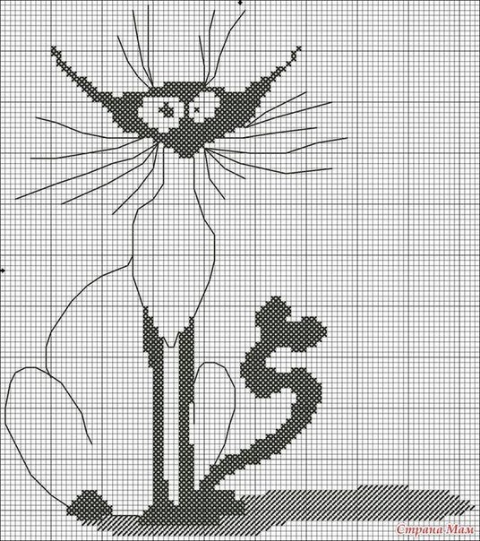 Кошки. Схема вышивки