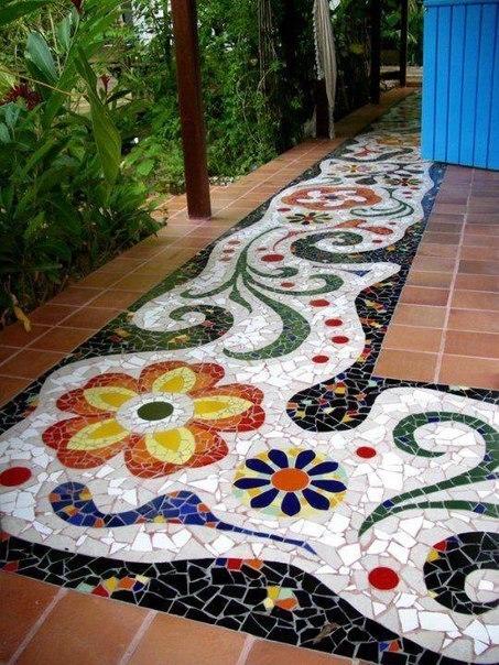 Как сделать садовую дорожку из битой плитки