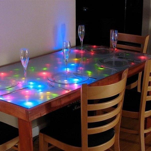 Как сделать подсветку в столе