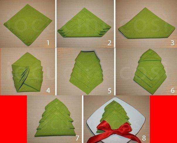 Как сложить бумажную салфетки на новый год