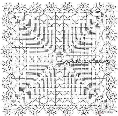 Схема вязание крючком квадратной салфетки для начинающих