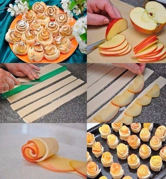 Как сделать розочки из яблок с тестом