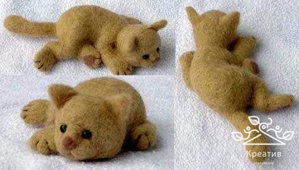 Поделки из шерсти для валяния для начинающих коты
