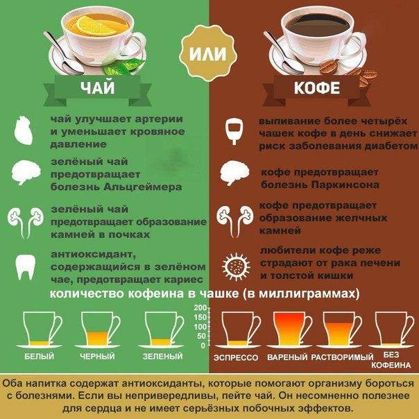 Где больше кофеина в кофе или чай зеленый