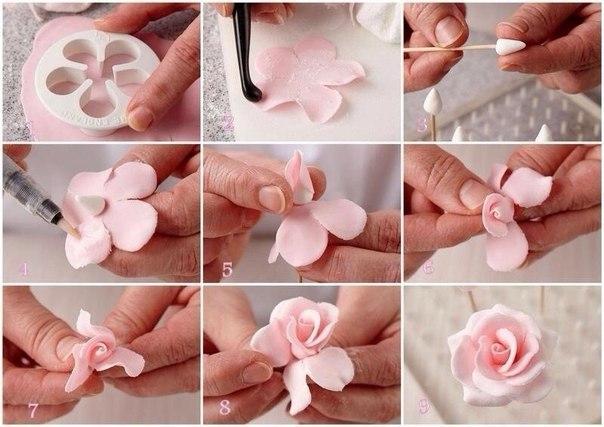 Как сделать розу из мастики в домашних