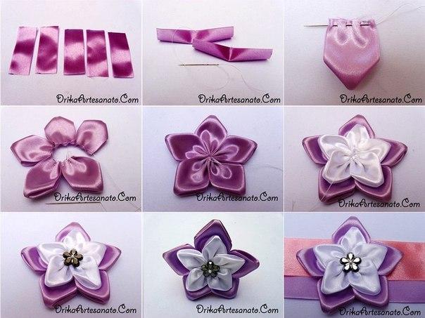 Как сделать цветы из атласных лент своими руками канзаши