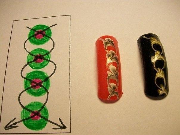 Рисунок иголкой на ногтях в домашних условиях