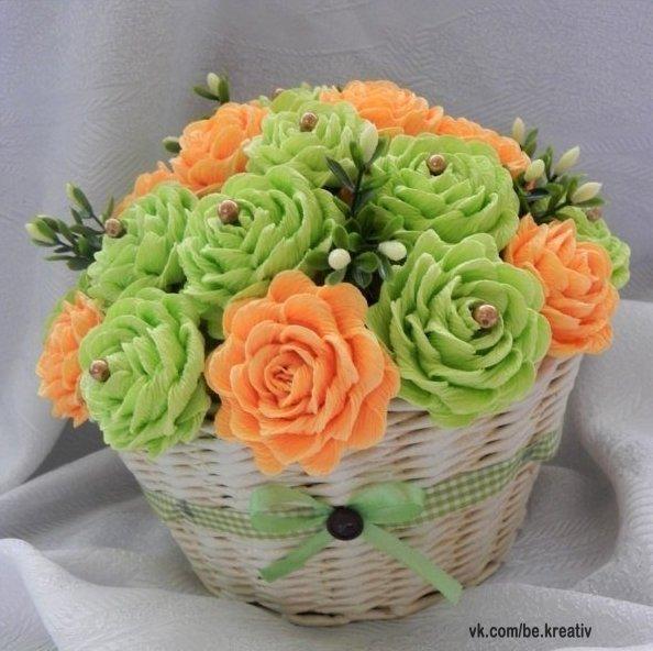 Как сделать корзину розы из гофрированной бумаги