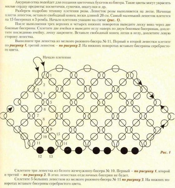 Плетение бисером сетка для начинающих схема