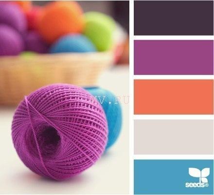 Сочетание цвета с сиреневым в вязании