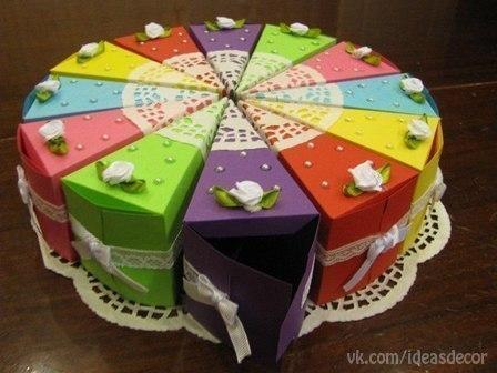 как сделать бумажный торт фото